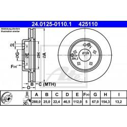 DISCHI FRENO ANTERIORE MERCEDES CLASSE C W202 - ATE 425110 - 2104210712 - 2104210412 - 2034210312