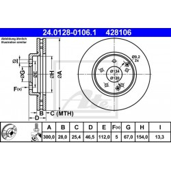 DISCHI FRENO ANTERIORE MERCEDES W203 W210 - ATE 428106 - A2104212212 - 2104211512 - 2104212512
