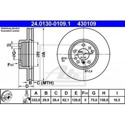 DISCO FRENO ANTERIORE BMW X3 E83 BMW X5 E53 - ATE 430109 - 34116756045 - 34116765457 - ATE 24013001091
