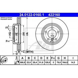 DISCO FRENO ANTERIORE BMW SERIE 3 E46 - ATE 422160 - 34111164539 - ATE 24012201601 - 34116766224