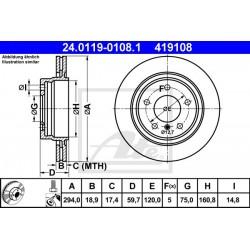 DISCO FRENO POSTERIORE BMW SERIE 3 E46 - ATE 419108 - ATE 24011901081 - 34211165563 - 34216855154