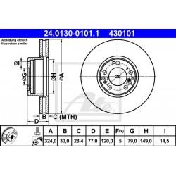 DISCO FRENO ANTERIORE BMW S.5 E39 S.7 E32 S.8 E31 - ATE 430101 - ATE 24013001011 - 34111159916 - 34111159895